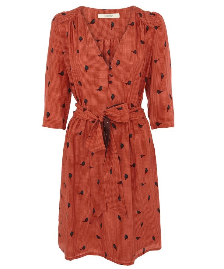 Red Beauvoir Bird Print Silk Dress by Sessùn. From Liberty.co.uk.
