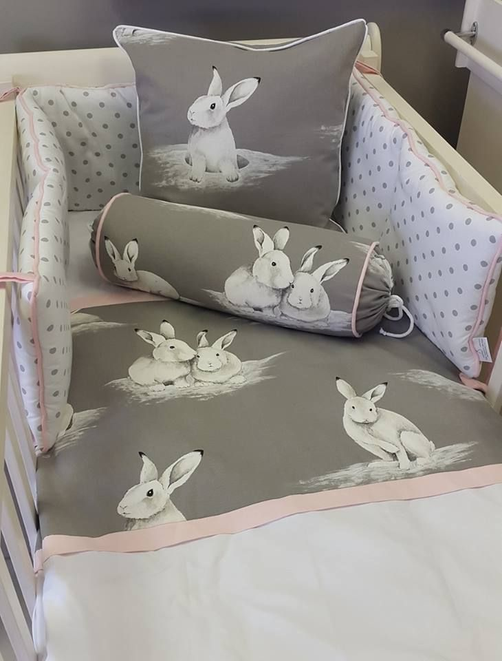 Bashful Bunny with a touch of Grey and Pink, perfect and simple, for a little girl!