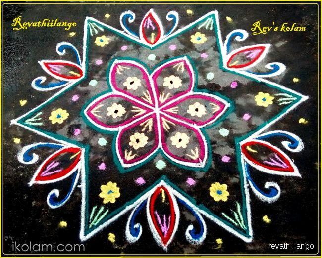 Rangoli Rev's daily kolam 13. 1 dots in 6 sides to give star shape. | www.iKolam.com