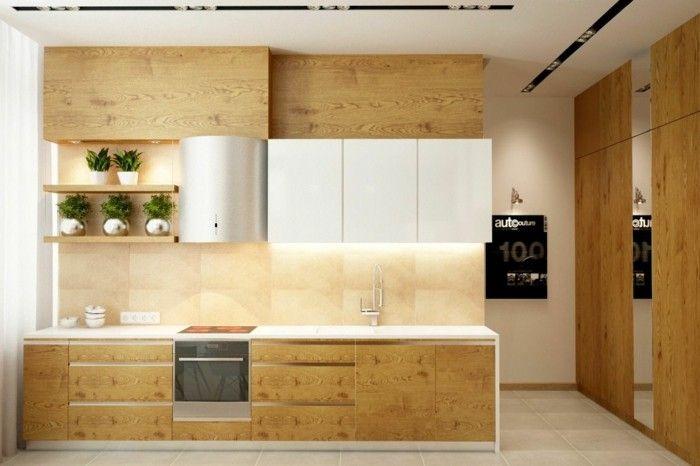 holzküche modernes design kleine küche helle bodenfliesen Küche - einbauküchen für kleine küchen