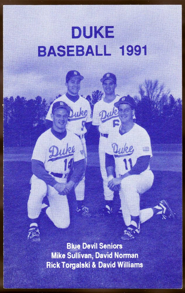 1991 DUKE BLUE DEVILS BASEBALL POCKET SCHEDULE EX+NM CONDITION FREE SHIPPING #Pocket #SCHEDULE