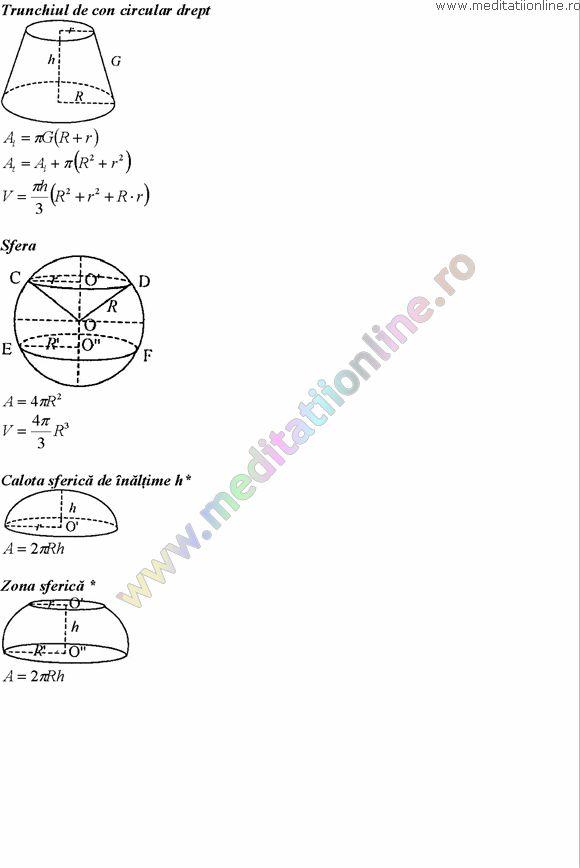 Formule matematica gimnaziu 5 8 Formule si teorie Geometrie plana si in spatiu si Trigonometrie pagina 14