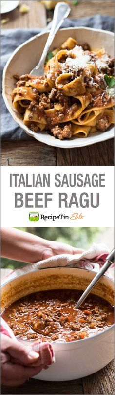 Italian Sausage & Beef Ragu - make this in your SLOW COOKER!!!