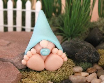 Polymer Clay Christmas Baby Gnome Miniature Baby by GnomeWoods