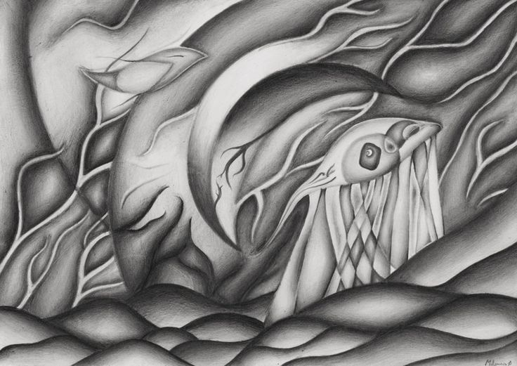 Wanderer abstract graphite drawing by milyusia