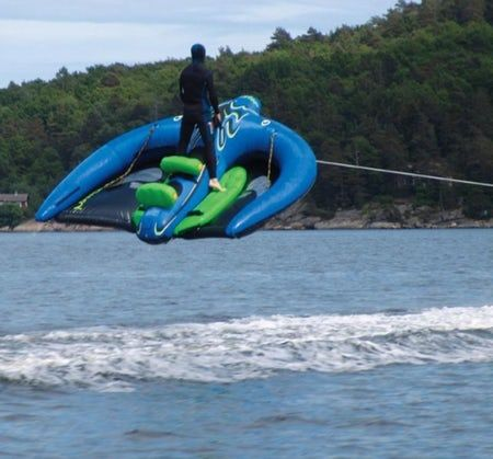July 14, 2006 Last month we ran a story on the Kite Tube, a human-bearing inflatable towable water kite and within a week we've been sent another one – the Man