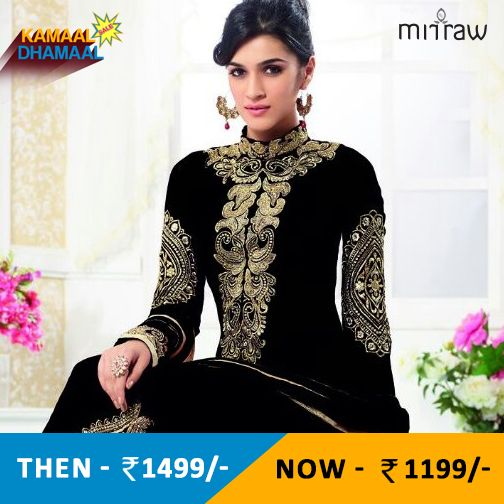 Black embroidered georgette semi stitched salwar with dupatta.Shop Now- http://bit.ly/1fzObg5