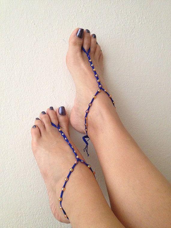 Blauw oranje kralen macrame voet sieraden enkelbandje, Nude schoenen, voet juwelen, bruiloft, Victorian Lace, Sexy, Lolita, Yoga, Anklet