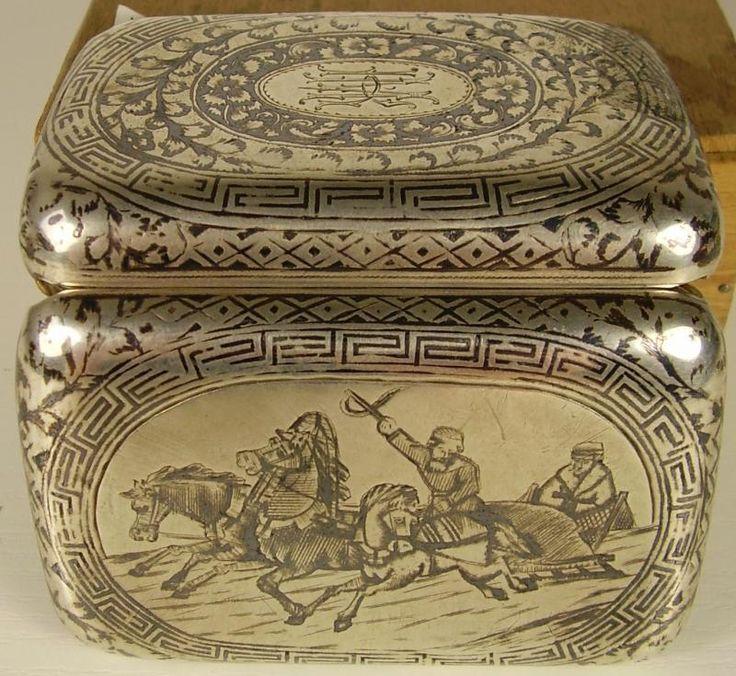 Antikes schönes Zigaretten Etui Dose Tula Silber 84 Russland um 1894