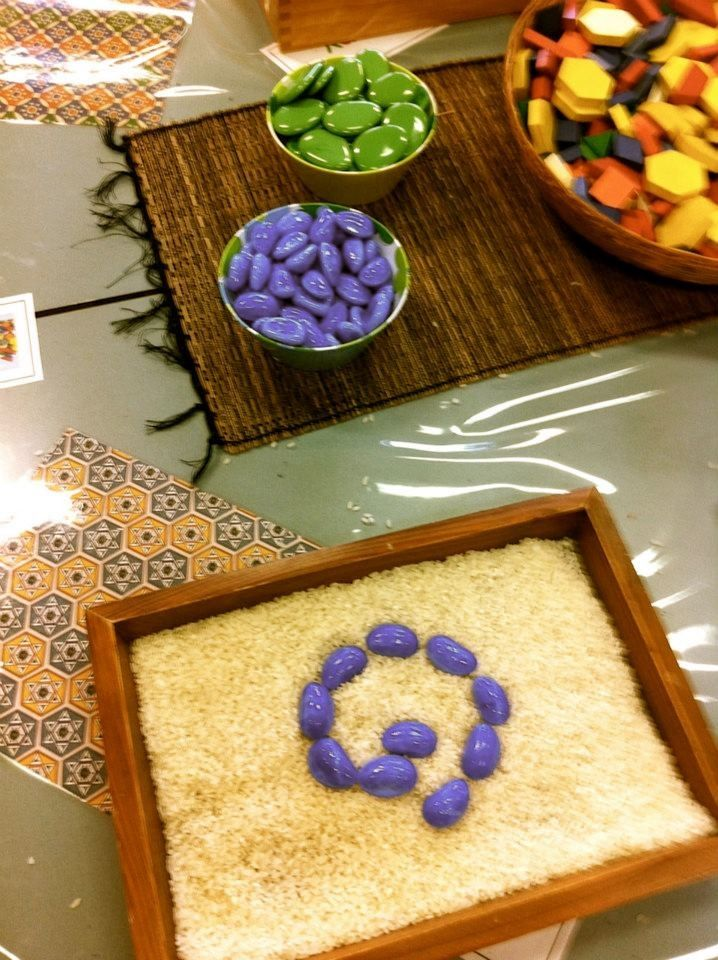 Rice with colored stones- sensory play @ Burnie Primary School.