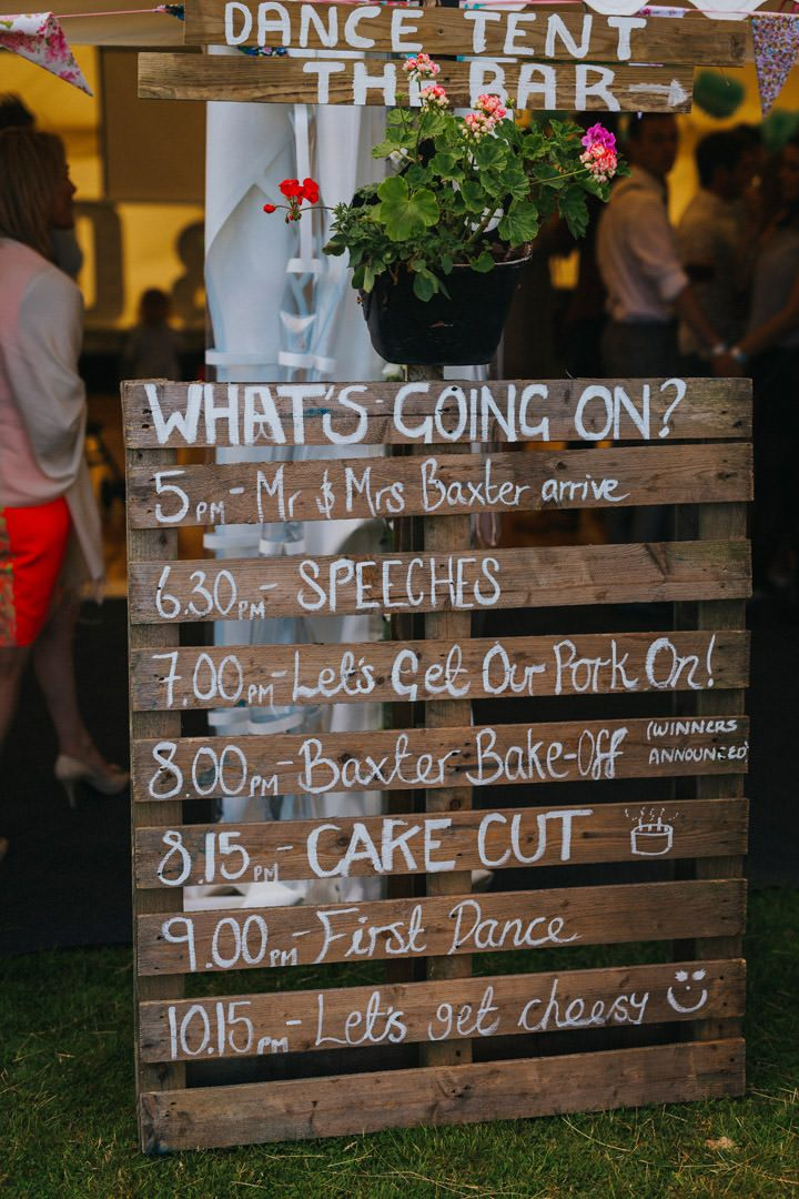 Perfect wedding crate sign. Sounds like a great party, right? Yep, it was! Photo by Benjamin Stuart Photography #weddingphotography #cratesign #festivalwedding #weddingsign #signage #outdoorwedding #weddingideas