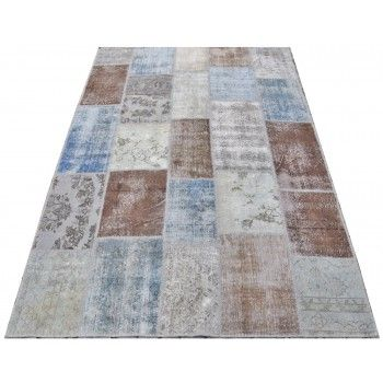 183x275 cm Faded Blue, Brown, Gray and Turquoise Color PATCHWORK Rug patchwork halı