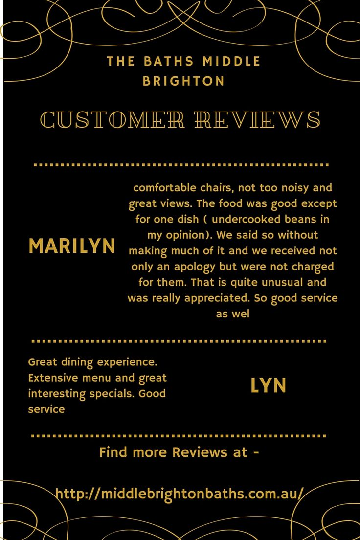 Whether to dine at Middle Brighton Baths or not. Not Sure? Read our customer reviews and see what our customers say about our services and what quality of dine experience they get with us.