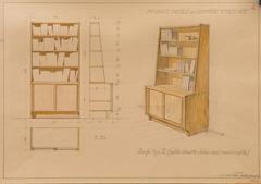Wojciech Jastrzębowski, Biblioteczka, meble dla Domu Kultury, Muzeum Akademii Sztuk Pięknych