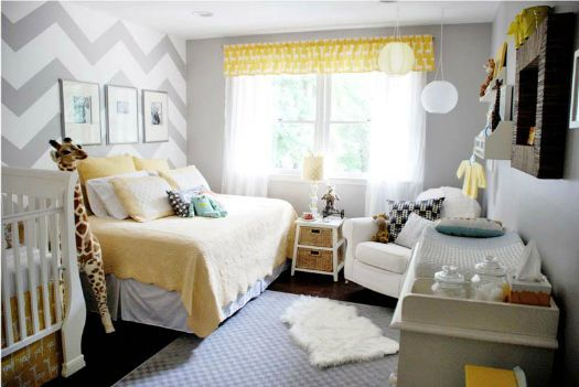 Adorable yellow and gray kid roomGuest Room, Chevron Walls, Grey Yellow, Colors Schemes, Baby Room, Nurseries Ideas, Babies Rooms, Accent Wall