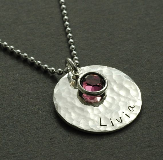 hand stamped personalized jewelry, necklace with birthstone, $32Hands Stamps, Personalized Jewelry, Hand Stamped, Necklaces Hands, Jewelry Necklaces, Personalized Necklaces, Stamps Personalized, Stamps Hammer, Birthstone Necklaces