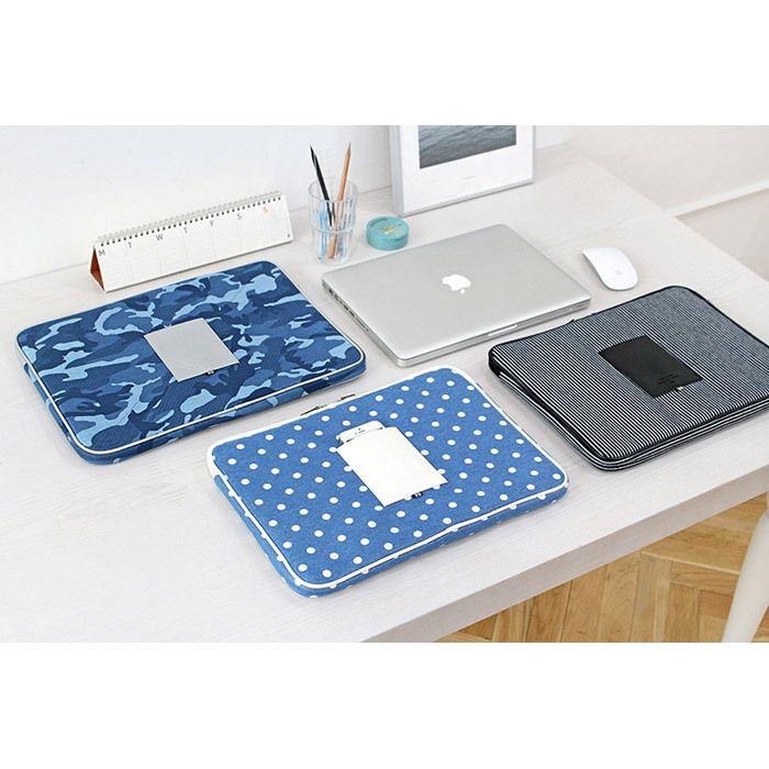 Indigo The Basic cotton denim laptop pouch case 15…