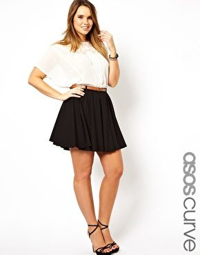 Skater Skirts are just so flattering! ASOS Curve Exclusive Tailored Skater Skirt With Belt ($24.92)