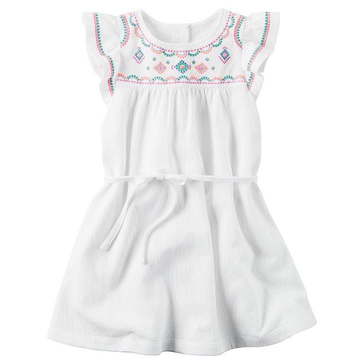 Girls 4-8 Carter's Flutter-Sleeved Dress, Girl's, Size: 6X, White