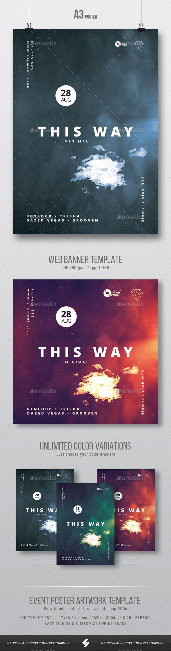 This Way - Minimal Party Flyer / Poster Artwork Template A3 - Clubs & Parties Events