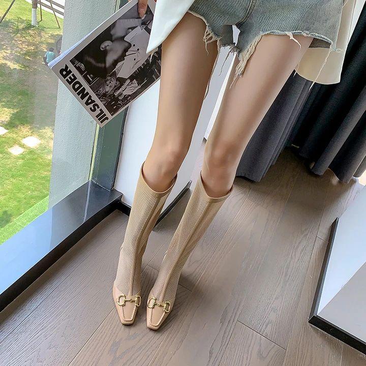 Aleena Mid Chunky Heeled Mesh Knee High Boots - FY Zoe Shoe