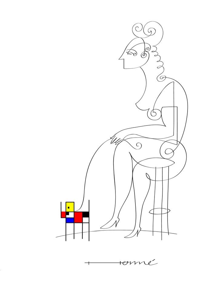 La femme avec le chiot du Mondrian
