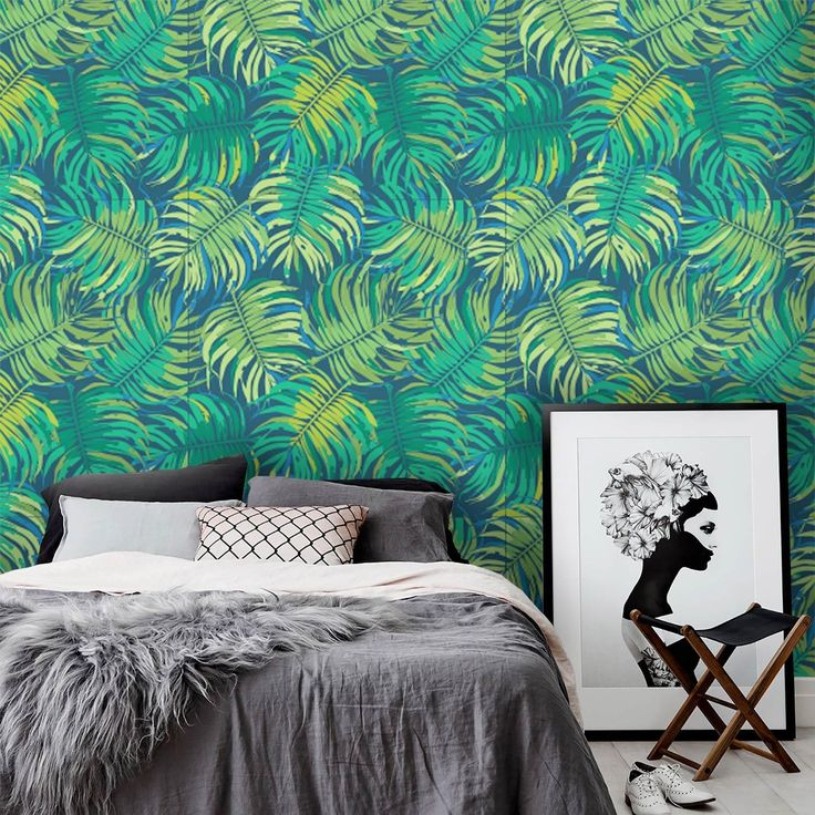Jungle Leaves Foglie Tropicali Exotic Pattern Carta da parati Autoadesiva