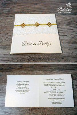 arany strasszos esküvői meghívó