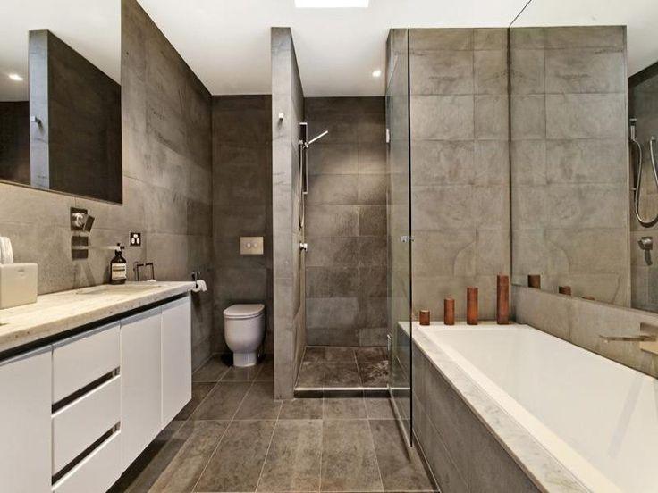 Concrete Bathroom Ideas: Bathroom Ideas With Polished Concrete, Tiles, Corner Bath