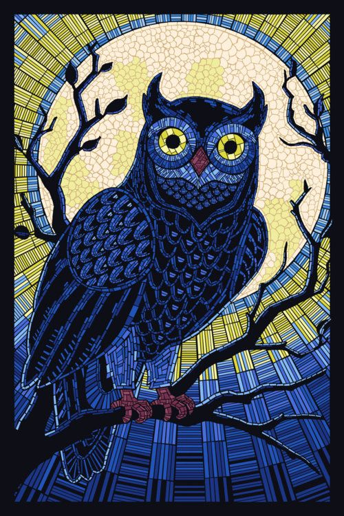 Ashley Claypool  Paper Mosaic Owl. I love the technique of using paper to create mosaics.