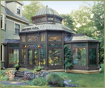 Restoration Project, The Yard: I like the domed roof of this glass house. I will have a larger version of this and will be housed at the opposite end of the lakeside villa. A glass house because we need to plan the gardening all year long. - Love, Grace