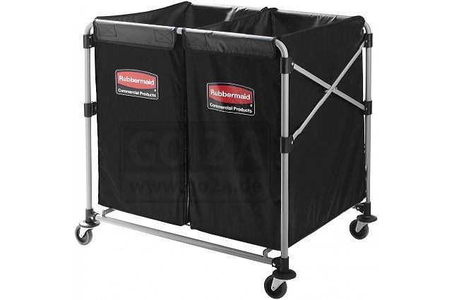 Mobiler und platzsparend zusammenklappbarer Wäschewagen von Rubbermaid mit zwei Gewebesäcken zur Wäschesammlung. Fassungsvermögen bis 100kg.