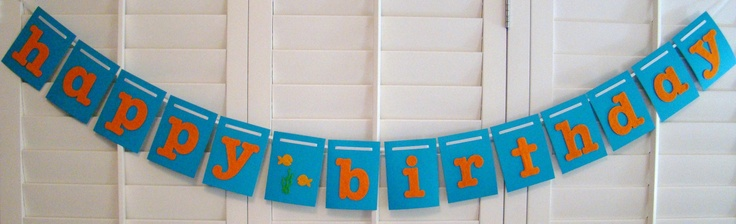 Happy Birthday Banner Garland Orange and Blue Under the Sea Fish theme. $18.00, via Etsy.