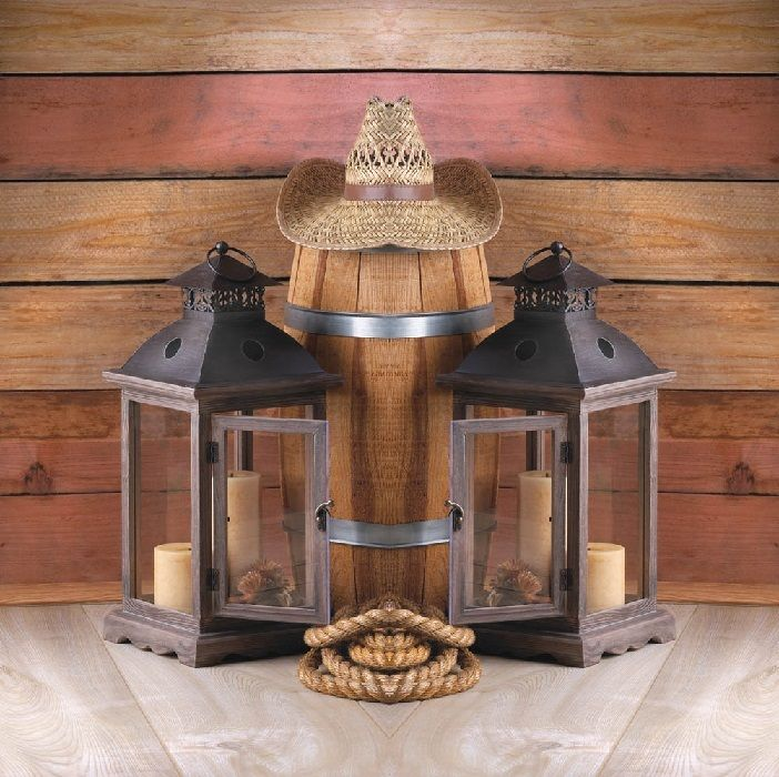 2 Large Western Candle Lanterns 18 Inch Lanterns Can Hold A Pillar And  Votive Candle,
