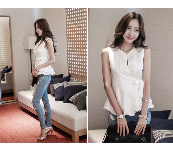 Loveliness of the female clothing shop. [Whitefox] Lovely ribbon VEST  / Size : FREE / Price : 41.55 USD Flare design adds femininity and the best linen material grows. #outer #vest #simple #lovely #koreafashion #womanfashion #dailylook #chic #OOTD #WHITEFOX