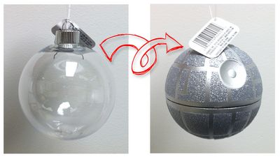 from one dollar clear plastic ornament turned into a custom-made death star ornament