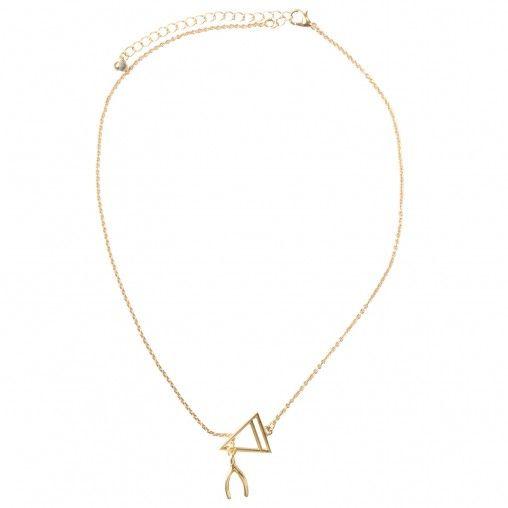 Gouden ketting met creatieve hanger van een wishbone en een driehoekje. De hangers vallen in elkaar. De sluiting is op de gewenste lengte af te stellen.