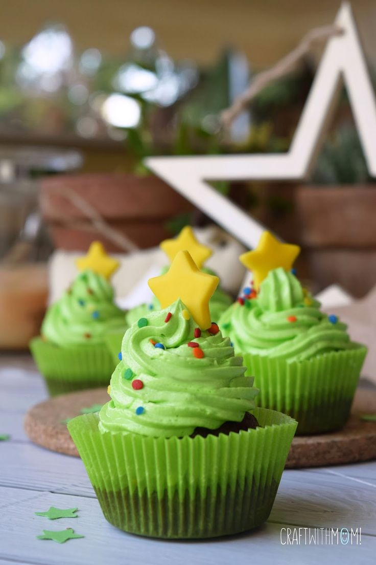CraftWithMom: Cupcakes Χριστουγεννιάτικα δεντράκια! | Christmas tree cupcakes!