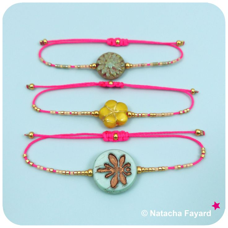 Friendship bracelets combo ! Mint green, yellow and neon pink. With miyuki delica seed beads.  © Natacha Fayard  #friendship #bracelet #mint #green #yellow #pink #neon #miyuki #delica #gold #SS2017