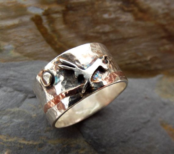 Moon and Hare Sterling Silver and Copper Ring by ThemSilverSeas, £84.00