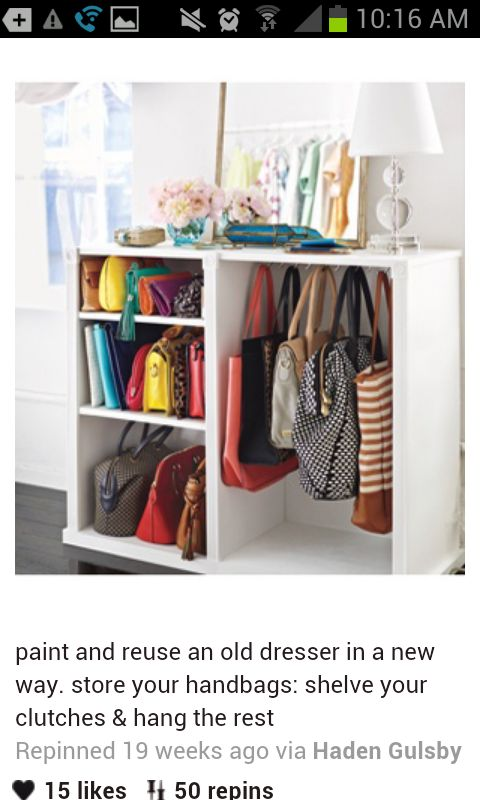 Instead of an old dresser this could also be done with a bookshelf. This is an excellent idea for an walk-in closet