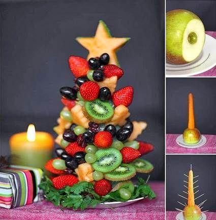 Centro de mesa navideño con frutas