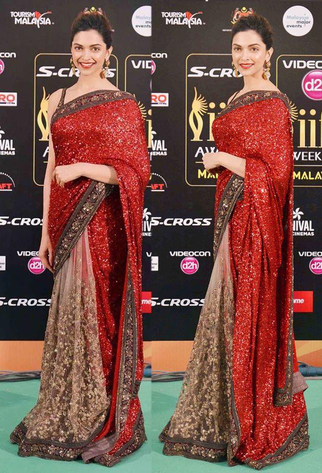 Red And Cream Designer Saree