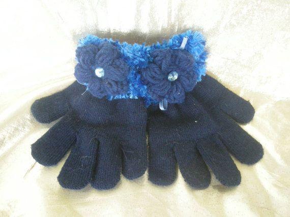 Fancy Girls Gloves, Crochet gloves, Kid gloves, Vintage style Gloves, Lace gloves, Blue gloves, Handmade  by CelinaRoseDesigns on etsy, $12.00