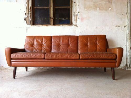 Mid century sofa leder danish design d nemark 50er 60er in for Sofa 50er 60er