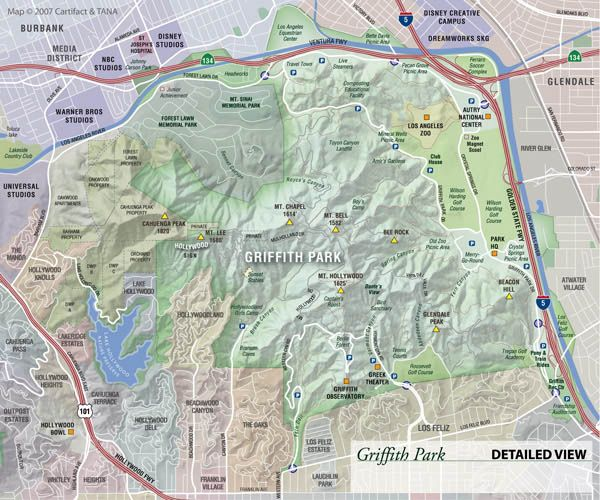 cartifact griffith park animated map to the trails pinterest