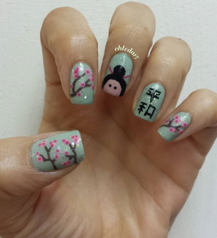 62 best chleda15 nail art designs 2016 images on pinterest all nails painted a light mint green grey as base added sparkle topcoat over geishanail art designs prinsesfo Choice Image