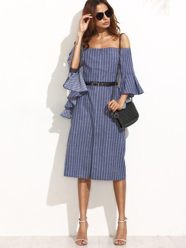 Bestseller Euro Off Shoulder Striped Dresses_Maxi Dresses Dresses Wholesale Clothing, Cheap Clothes Online, Discount Clothing Shop - UniWholersaler.com