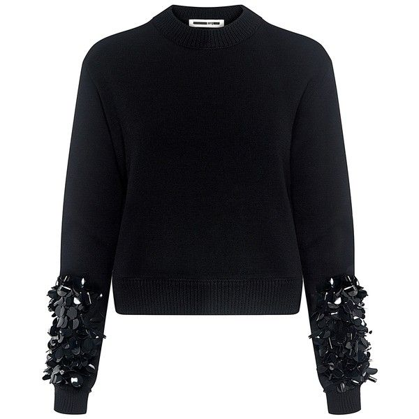 Mcq Alexander Mcqueen - Cluster Beaded Cropped Sweater (27.525 RUB) ❤ liked on Polyvore featuring tops, sweaters, beaded sweater, crewneck sweaters, crew neck tops, sleeve top and crew-neck sweaters
