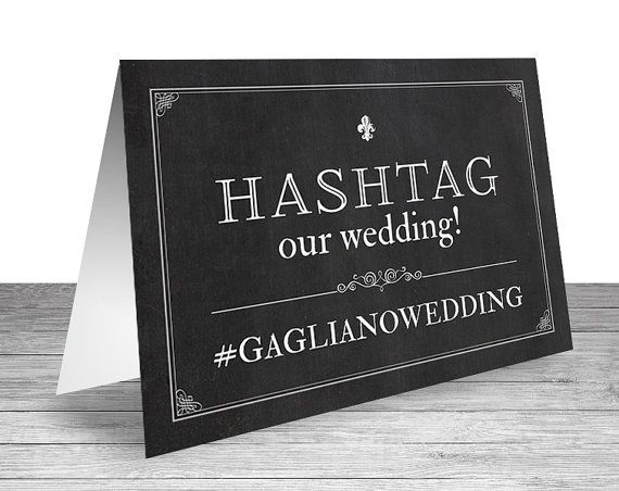 Hashtag Our Wedding Chalkboard Sign Custom Table Tent by NviteCP